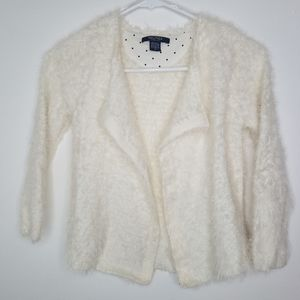 Nautica furry cardigan open front girls sz6